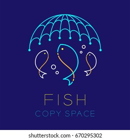 Fish, Fishing net and Air bubble logo icon outline stroke set dash line design illustration isolated on dark blue background with Fish text and copy space