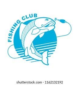 Fish and fishing rod emblem. Fishing club Fishermen sign. Vector illustration