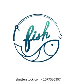 Fish in Fishing rod frame circle shape, logo icon set design green and dark blue gradient color illustration isolated on white background with Fish text brush style and copy space