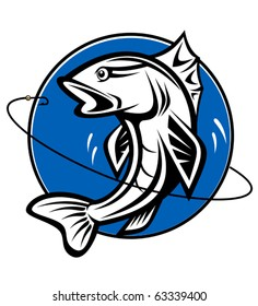 Fish as a fishing symbol for design - also as emblem or logo template. Jpeg version also available in gallery