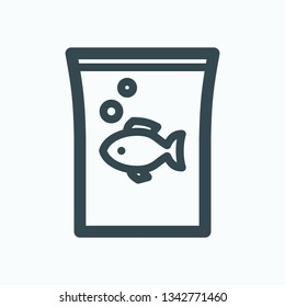 Fish food isolated icon, pack of fish food outline vector icon