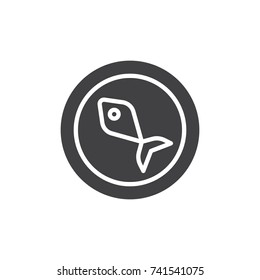 Fish food on plate icon vector, filled flat sign, solid pictogram isolated on white. Seafood symbol, logo illustration.