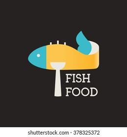 Fish food. Restaurant logo. Fish food restaurant. Vector Logo Template.