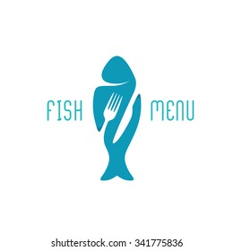 Fish food restaurant menu title logo. Silhouette of a fish with negative space style fork and knife cutlery.