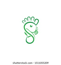 Fish in the foot and leaf, Logo for herbal medicine, logo design vector template