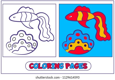 Fish guppies and shell. The book for destkogo creativity. Black-and-white drawing from lines for coloring with paints and pencils. For drawing with the left hand. On a white background. Vector