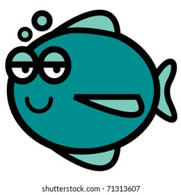 Fish with happy face blowing bubbles.