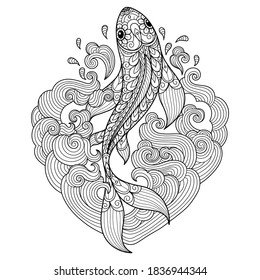 Fish in heart waves. Zentangle stylized cartoon isolated on white background.  Hand drawn sketch illustration for adult coloring book.