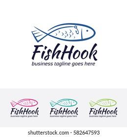 Fish Hook, fishing hook, hook, market, label, shop, store, food, fish, animal, restaurant, fishing. Vector logo template