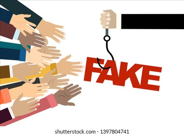 Fish hook with a label and text: Fake. concept of special offer or fraud. Hands stretching. Illustration in flat style.