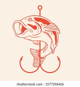 Fish with hook line art vector illustration for fly fishing shop and fisherman activity club badge logo design