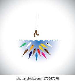 fish hook with worm as bait for fishing - vector concept. This graphic icon also represents strategies like attracting top talent by corporates, retaining talent, cheating & deception, etc