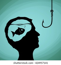 Fish in the human head. Man looking on a fishing hook. Lies, deception and fraud. Stock vector illustration.