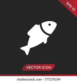 Fish icon. Animal symbol, flat vector illustration.