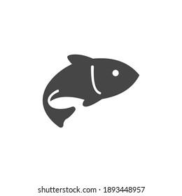 Fish Icon Black and White Vector Graphic