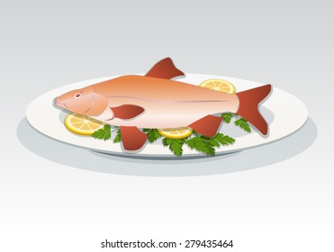 Fish icon. Crucian on white plate with lemon and herbs. Food, seafood dish symbol. Cyprinidae family. Fresh fish color sign with red fins on gray background. Vector isolated.