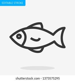 Fish Icon Editable Stroke Pixel Perfect Vector