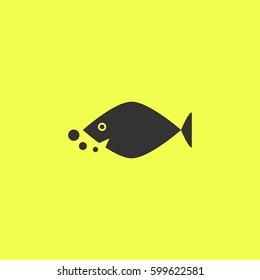 Fish icon flat. Black pictogram on white background. Vector illustration symbol and bonus button