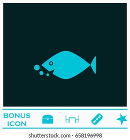 Fish icon flat. Blue pictogram on dark background. Vector illustration symbol and bonus icons