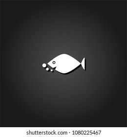 Fish icon flat. Simple White pictogram on black background with shadow. Vector illustration symbol