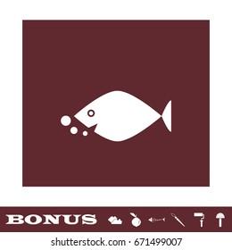 Fish icon flat. White pictogram on brown background. Vector illustration symbol and bonus icons