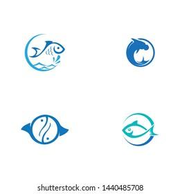 Fish icon illustration logo template design