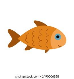 Fish icon isolated, aquarium fish silhouette illustration. Colorful cartoon flat aquarium fish icon for your design.
