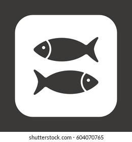 Fish Icon, isolated. Flat  design.