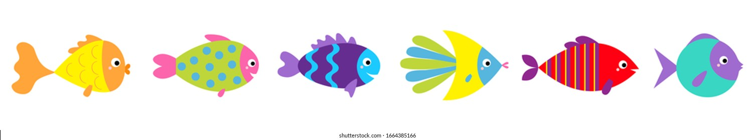 Fish icon line set. Cute cartoon kawaii funny character. Marine life. Colorful aquarium sea ocean animals. Baby kids collection. Isolated. White background. Flat design. Vector illustration