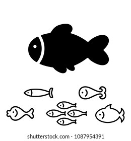 Fish Icon or Logo Collection Isolated on White. Simple Black Sea Animal Symbol in Thin Line Style