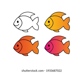 Fish icon with outline in Vector Form with colorful set.