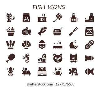 fish icon set. 30 filled fish icons. Simple modern icons about  - Fish, Food, Canned food, Net, Apron, Belem tower, Pet, Meat, Seaweed, Seashell, Chinese, Sea, Whale, Peanut