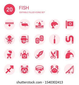 fish icon set. Collection of 20 filled fish icons included Collar, Dolphin, Sea, Japan, Kraken, Diver, Pez tablet, Hook, Worm, Barbecue, Apron, Fish, Grooming, Sagittarius, Cat
