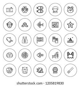 Fish icon set. collection of 25 outline fish icons with barbecue, canned food, chinese, crab, food, fish, hamster, jellyfish, lifejacket, kappa icons. editable icons.