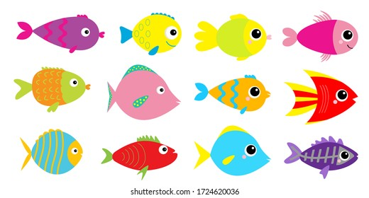 Fish icon set. Cute cartoon kawaii colorful aquarium animals. Baby kids collection. White background. Isolated. Flat design. Vector illustration