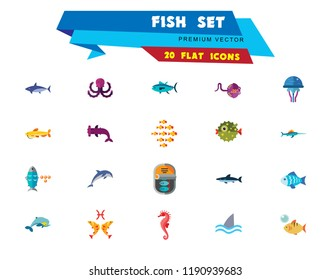 Fish Icon Set. Pieces Octopus Dolphin Shark Catfish Canned Fish Tuna Fish Shoal Caviar Hammerhead Fish Sea Skate Goldfish