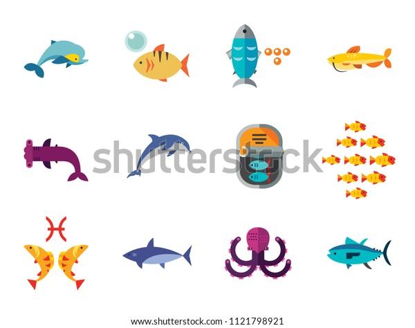 Fish Icon Set. Pieces Octopus Dolphin Shark Catfish Canned Fish Tuna Fish Shoal Caviar Hammerhead Fish Sea Skate Goldfish