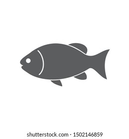 Fish icon template color editable. Fish symbol vector sign isolated on white background.