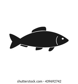 Fish icon Vector. Flat vector illustration in black on white background. EPS 10
