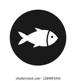 Fish icon vector illustration design isolated on flat black round button