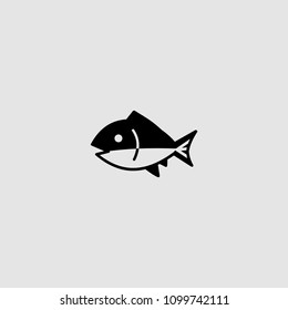 Fish icon. Vector fish illustration.Fish icon on gray backround. Vector icon