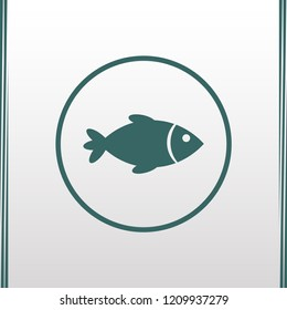 Fish icon. Vector fish illustration.Fish icon on green backround. Vector icon