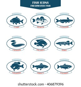 Fish icons. Can be used for restaurants, menu design, internet pages design, in the fishing industry, commercial