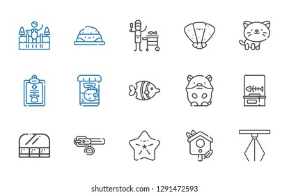 fish icons set. Collection of fish with hook, bird house, starfish, collar, food and restaurant, fishbone, hamster, fish food, pet, cat, seashell. Editable and scalable icons.