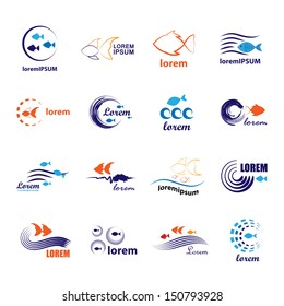 Fish Icons Set - Isolated On White Background - Vector Illustration, Graphic Design Editable For Your Design. Fish Logo