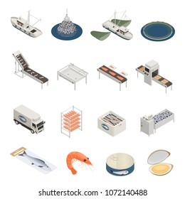 Fish industry seafood production isometric icons with pieces of industrial equipment vessels and ready marine products vector illustration