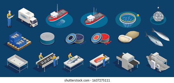 Fish industry seafood production isometric set with isolated icons of marine products fishing facilities and people vector illustration