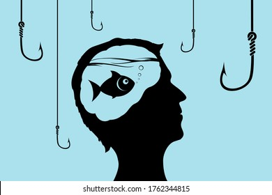 Fish inside a human head looking at fishhooks. Concept of lies and deception. Vector illustration