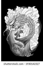 fish japanese carp black sketch tattoo drawing vector illustration
