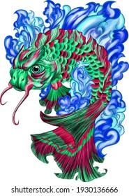 fish japanese carp color drawing vector illustration